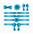 Blue Ribbon and Bow Set for Birthday and Christmas vector image vector image