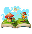 Book of fairies flying in the garden vector image vector image