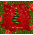 border fir-tree branches with poinsettia vector image vector image