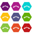 bridge icon set color hexahedron vector image vector image