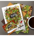 Cartoon cute hand drawn doodles Fast Food vector image vector image