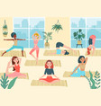 cartoon yoga girls young women exercise asanas vector image