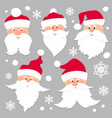 christmas santa claus faces in red caps old men vector image vector image