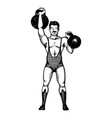 circus strongman with dumbbell engraving vector image vector image