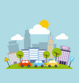 city buildings road urban street landscape vector image