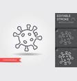 corona virus cells sign line icon with editable vector image
