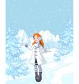 Cute Girl Enjoying a Snowfall vector image vector image