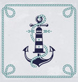 emblem with anchor and lighthouse nautical banner vector image