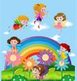 fairies flying over the rainbow vector image