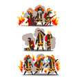 firefighters with firefighting equipment firemen vector image