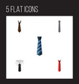 flat icon necktie set of textile tie cravat and vector image vector image