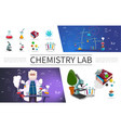 flat laboratory research elements set vector image