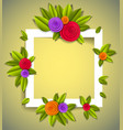 flowers and leaves beautiful background or frame vector image vector image
