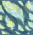 green and blue feather pattern vector image vector image