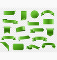 green ribbon and tags isolated transparent vector image vector image
