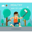 Healthy way of life Sport monopod selfie in park vector image vector image