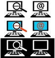 Icons of computer monitors vector image vector image