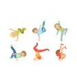 kids dancing break dance set boys and girls vector image vector image