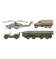 military transport with armored corpus isolated vector image vector image
