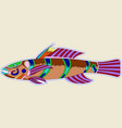 multi-colored monster fish with one big spike vector image vector image
