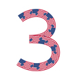 Number 3 made of USA flags on white background vector image vector image