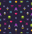 old games seamless pattern retro gaming pixels vector image