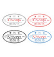 passport oval stamps with date chicago usa vector image vector image