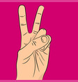 peace and victory hand sign gestures of hands vector image