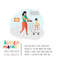 people characters mother and son shopping vector image
