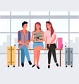 people sitting in departure lounge friends vector image vector image