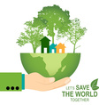 Save the world poster design template with hand