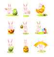 set cute easter rabbit character in different vector image vector image
