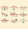 set merry christmas label vector image vector image