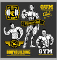 set of bodybuilding emblems with sport equipment vector image vector image