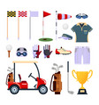 set of golf equipment icon logo in flat style vector image vector image