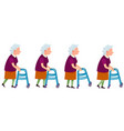 set of grandmother characters moving on walkers vector image vector image