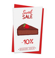 set of pastry poster banner for sale of brownie vector image