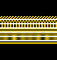 set stripes yellow black color industrial pattern vector image vector image