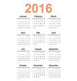 simple calendar 2016 year vector image vector image