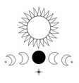 sun moon and crescent icons vector image