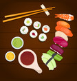 sushi on a wooden background japanese food vector image