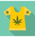 T-shirt with print of cannabis icon flat style vector image vector image