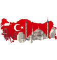 turkish famous landmarks vector image