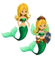 Two fighting blonde mermaid with a green tail vector image vector image