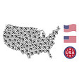 usa map stylized composition of jet plane vector image
