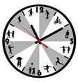 wall clock with silhouettes children vector image vector image