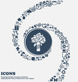 wedding bouquet sign icon in the center Around the vector image vector image
