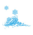winter background with snowflakes for greeting vector image vector image