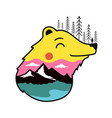 with bear head colored mountain landscape pine vector image vector image