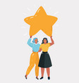 woman holding big star together vector image vector image